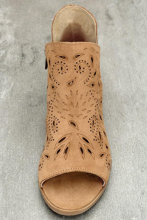 Coolway Nelia Cognac Suede Leather Cutout Peep-Toe Booties 5
