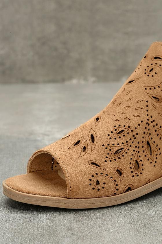 Coolway Nelia Cognac Suede Leather Cutout Peep-Toe Booties 6