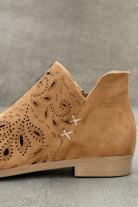 Coolway Nelia Cognac Suede Leather Cutout Peep-Toe Booties 7