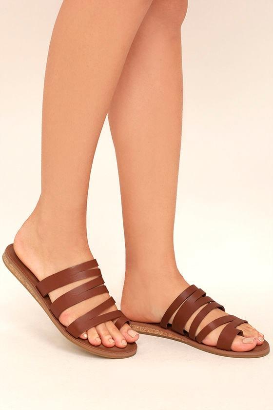 6674f86f744f Steve Madden Hestur Sandals - Cognac Leather Sandals - Toe Loop ...