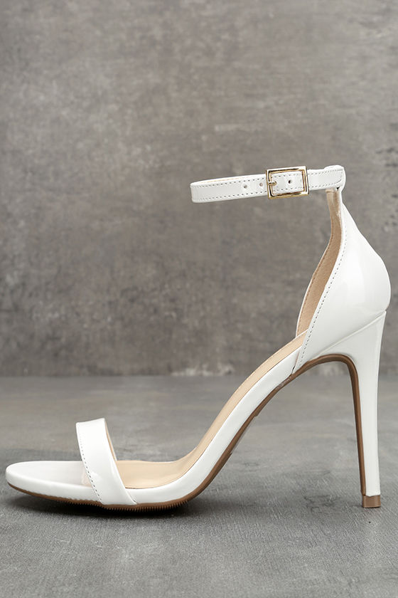 f217978997d Classic White Heels - Patent Vegan Leather Heels - Ankle Strap Heels -   26.00
