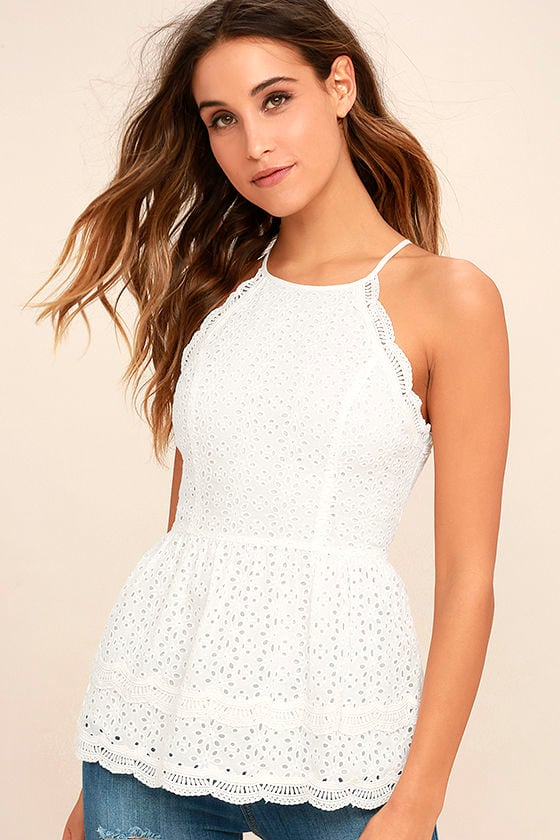 Be True White Lace Peplum Top 1