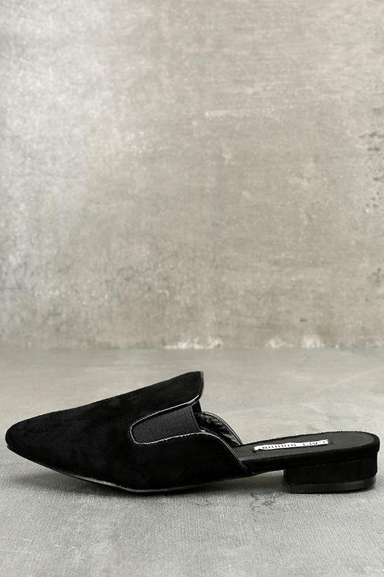 b12d8267de1b Chic Black Slides - Loafer Slides - Pointed Toe Slides -  33.00