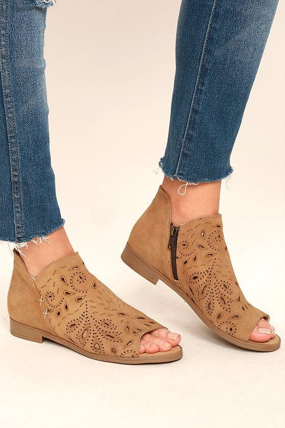 Coolway Nelia Cognac Suede Leather Cutout Peep-Toe Booties 2