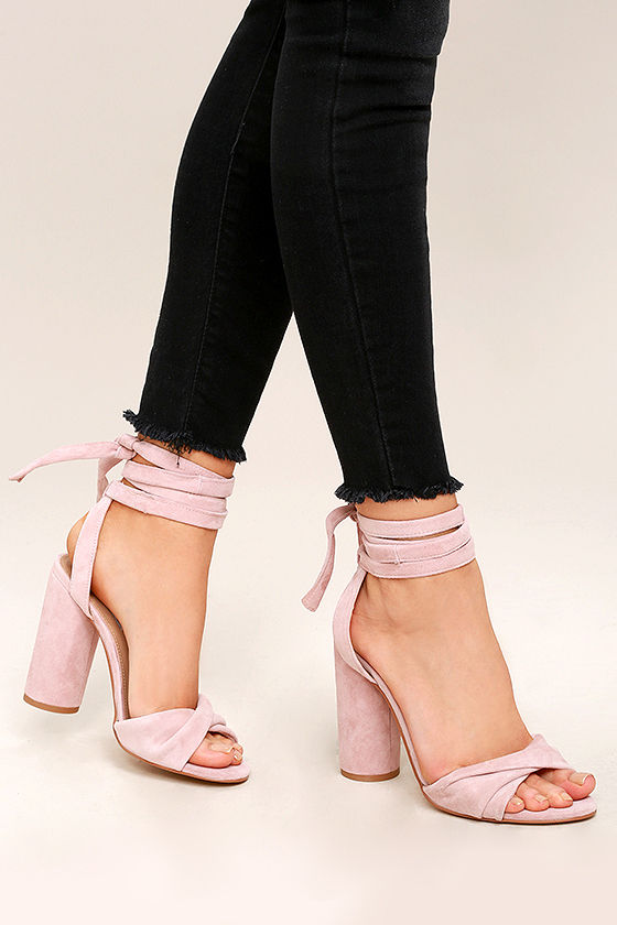 Fresh Steve Madden Clary Heels - Pink Suede Leather Heels - Lace-Up  BG66