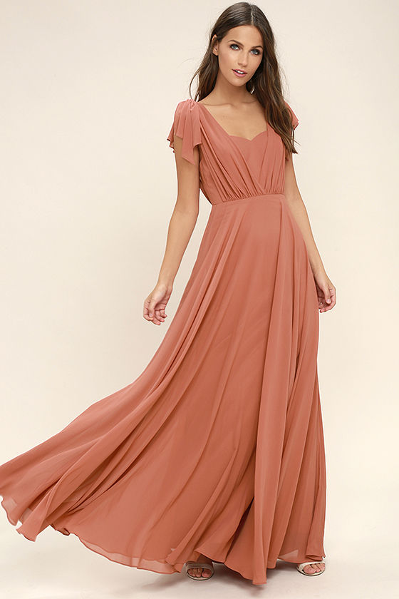 Vintage Evening Dresses Falling For You Taupe Maxi Dress $91.00 AT vintagedancer.com