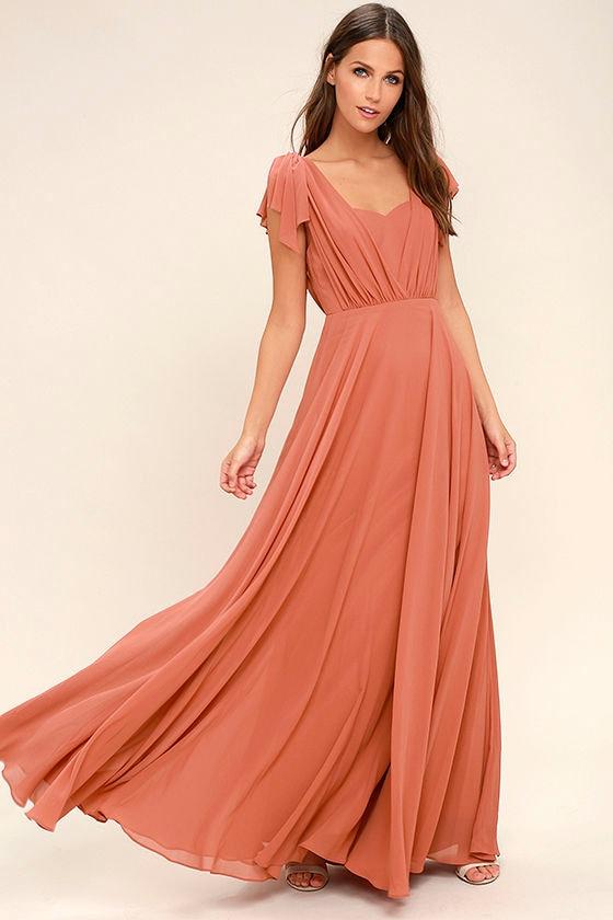 Falling For You Rusty Rose Maxi Dress 1