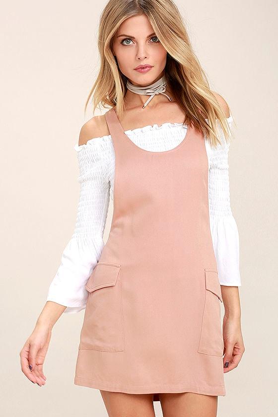 Old Fashioned Blush Pink Pinafore Dress 1