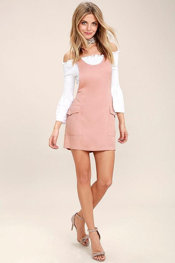 Old Fashioned Blush Pink Pinafore Dress 2