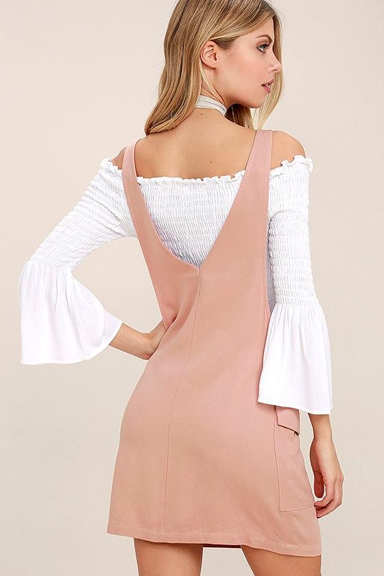 Old Fashioned Blush Pink Pinafore Dress 3