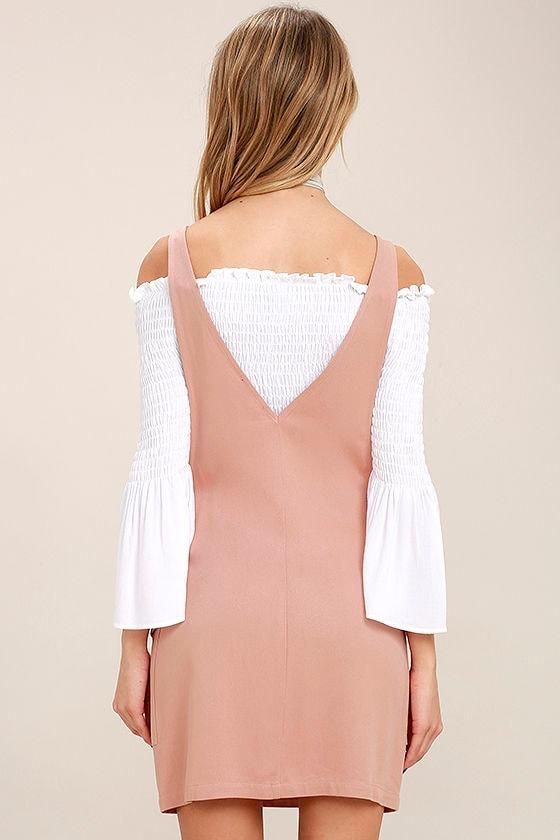 Old Fashioned Blush Pink Pinafore Dress 4