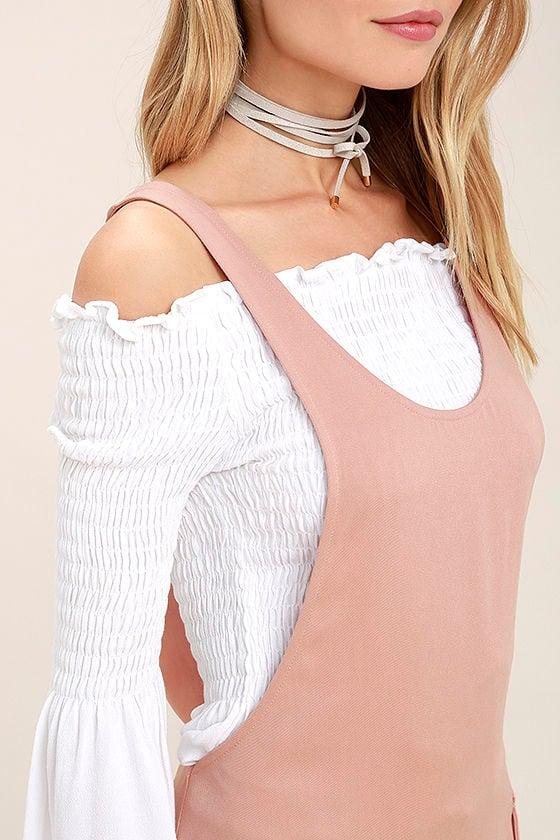 Old Fashioned Blush Pink Pinafore Dress 5