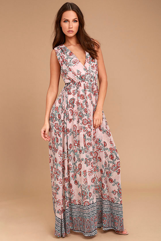 Wings of Fancy Blush Pink Floral Print Maxi Dress 1
