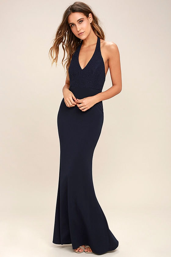 Lovely Navy Blue Dress - Halter Dress - Maxi Dress - Lace Dress ...