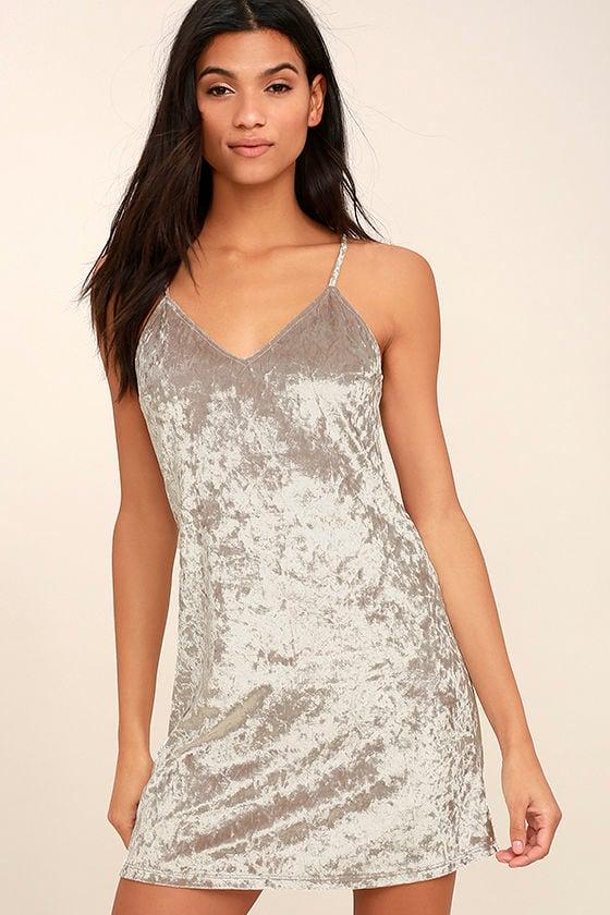 Wind it Up Grey Velvet Slip Dress 1