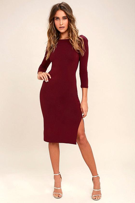 Elegant Artistry Burgundy Bodycon Midi Dress 2