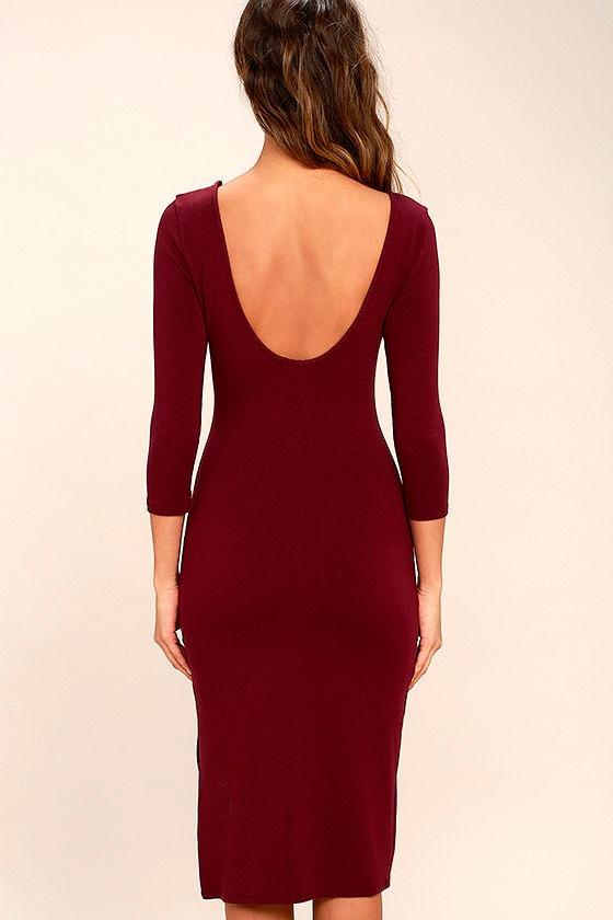 Elegant Artistry Burgundy Bodycon Midi Dress 4