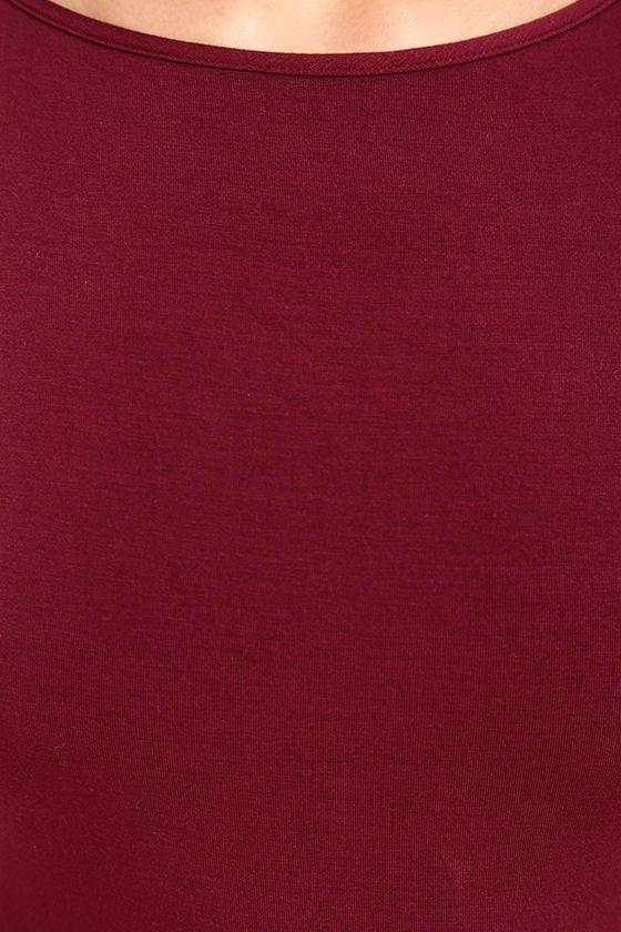 Elegant Artistry Burgundy Bodycon Midi Dress 6