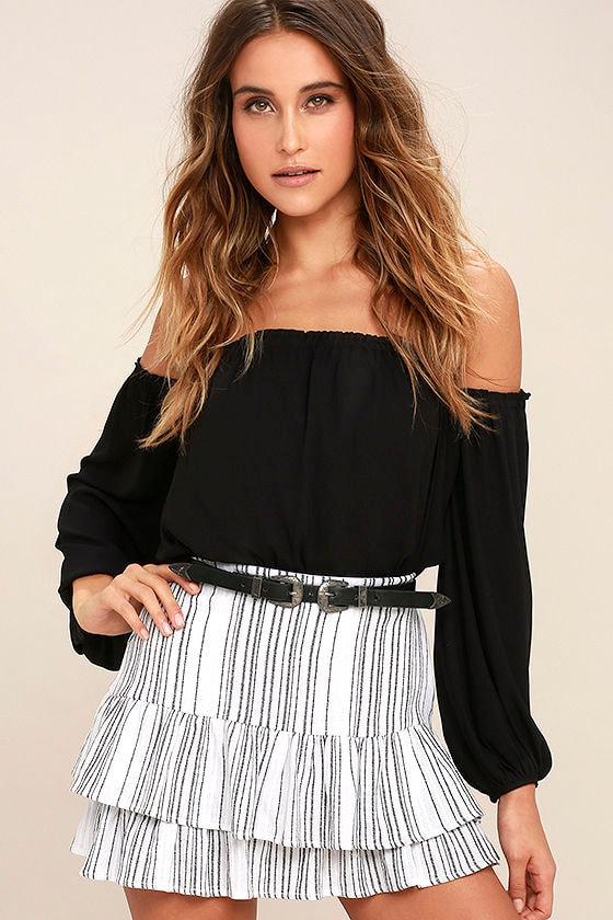 6c6de90f3a5a Cute Black and White Skirt - Striped Skirt - Mini Skirt - Trumpet Skirt -  $47.00