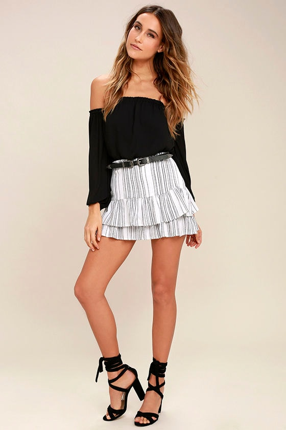 Cute Black and White Skirt - Striped Skirt - Mini Skirt - Trumpet ...