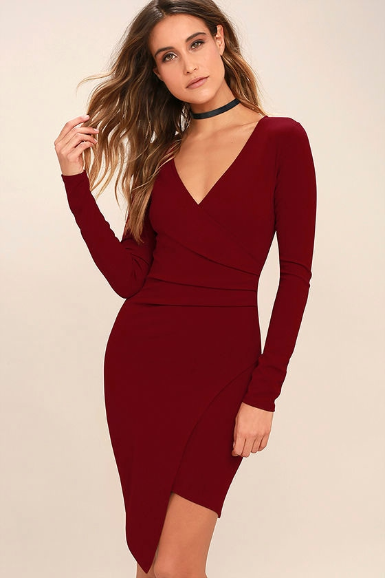 Love Me Completely Dark Red Long Sleeve Bodycon Dress 1