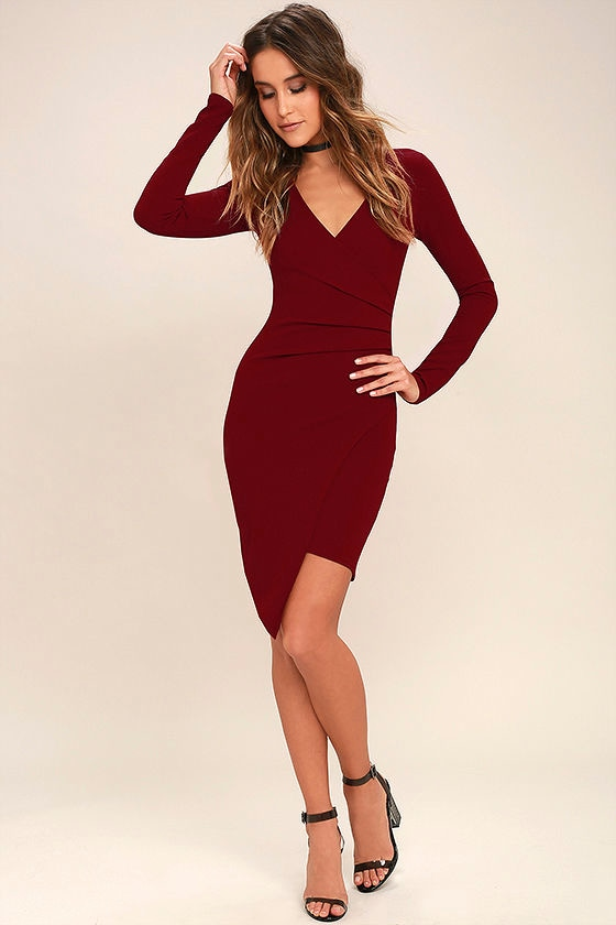 Love Me Completely Dark Red Long Sleeve Bodycon Dress 2