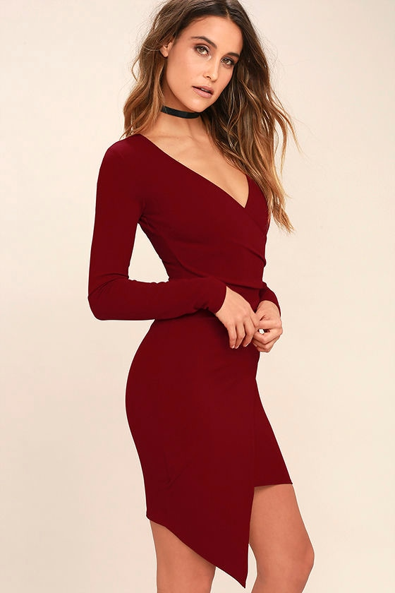 Love Me Completely Dark Red Long Sleeve Bodycon Dress 3