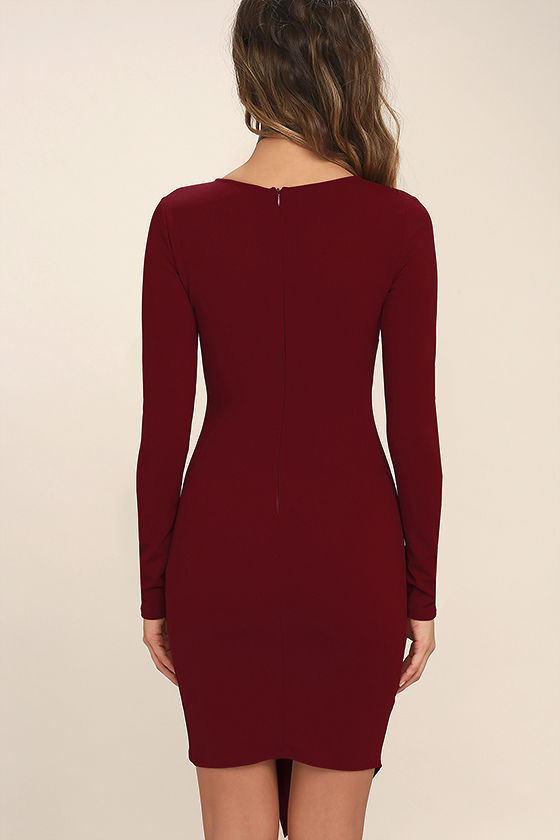 Love Me Completely Dark Red Long Sleeve Bodycon Dress 4