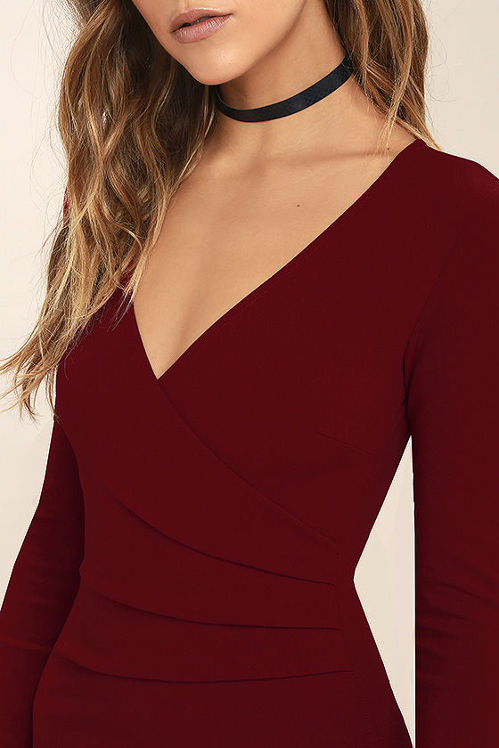 Love Me Completely Dark Red Long Sleeve Bodycon Dress 5