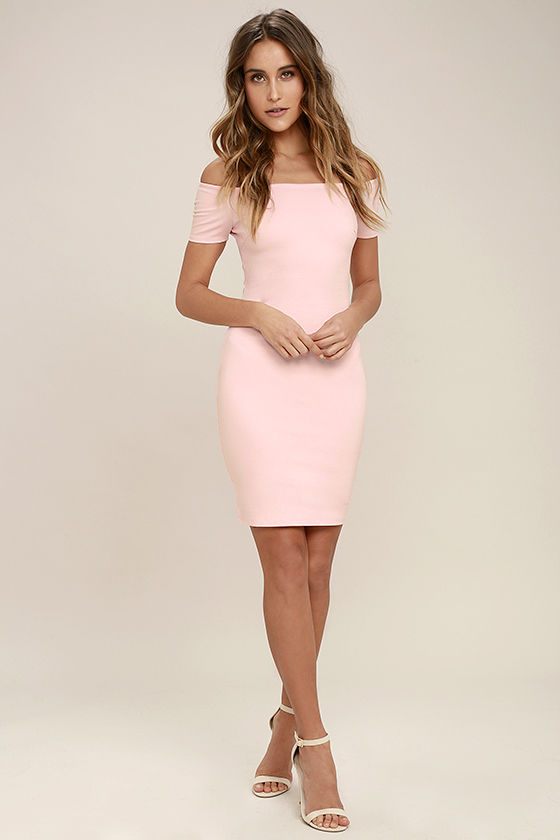 Me Oh My Blush Pink Off-the-Shoulder Bodycon Dress 2