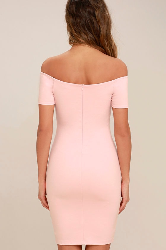 Me Oh My Blush Pink Off-the-Shoulder Bodycon Dress 4