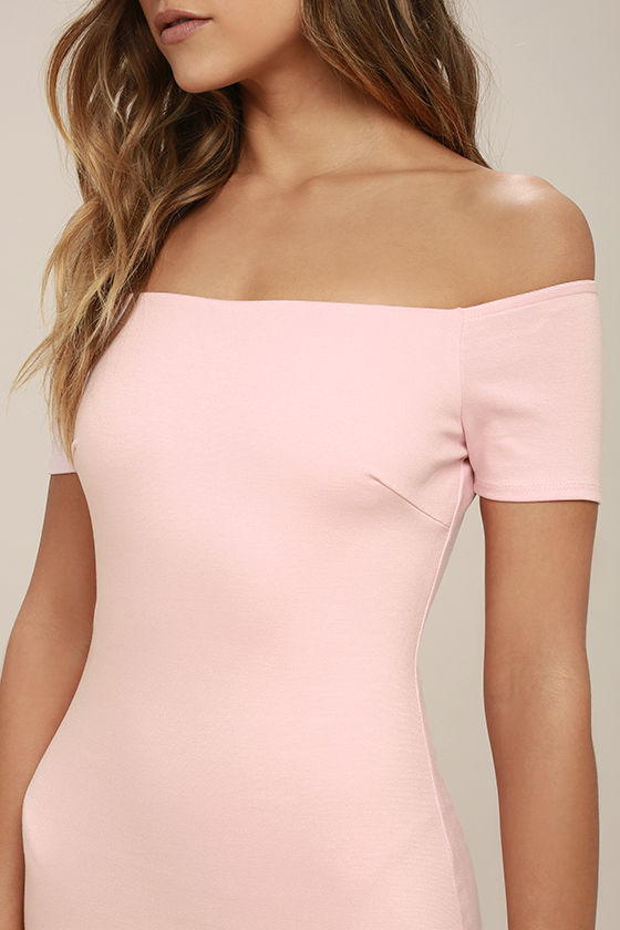 Me Oh My Blush Pink Off-the-Shoulder Bodycon Dress 5