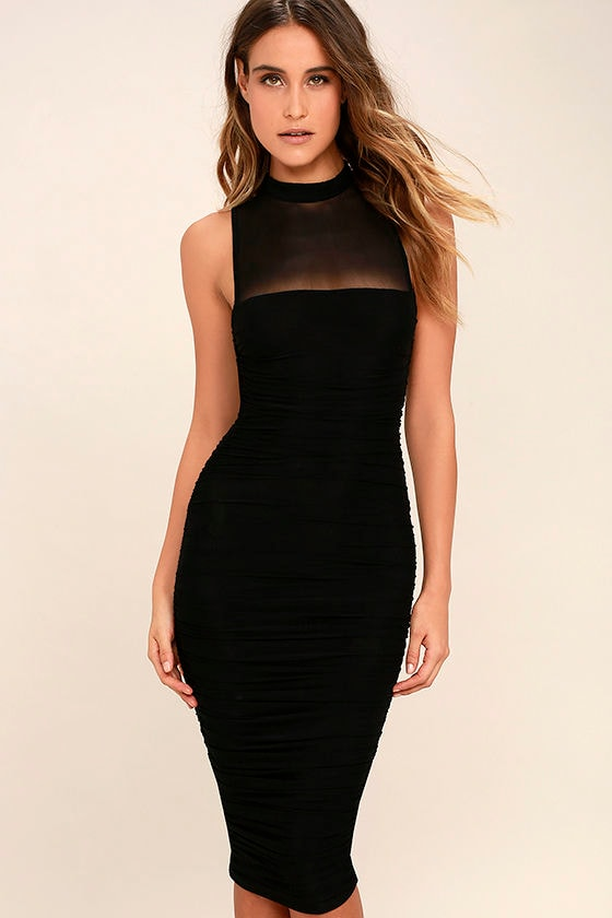 Sexy Black Bodycon Dress - Midi Dress - Ruched Dress - $48.00