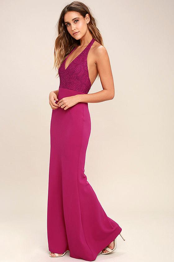 7eeec77c1df Fuchsia Dress - Halter Dress - Maxi Dress - Lace Dress