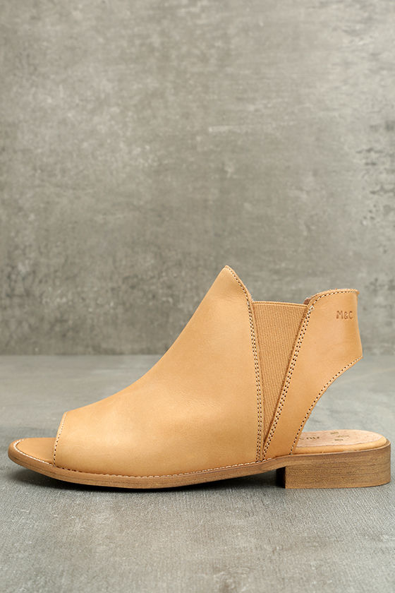 16bc74fa6 Musse & Cloud Ciara Booties - Tan Leather Booties - Peep-Toe Booties -  $79.00