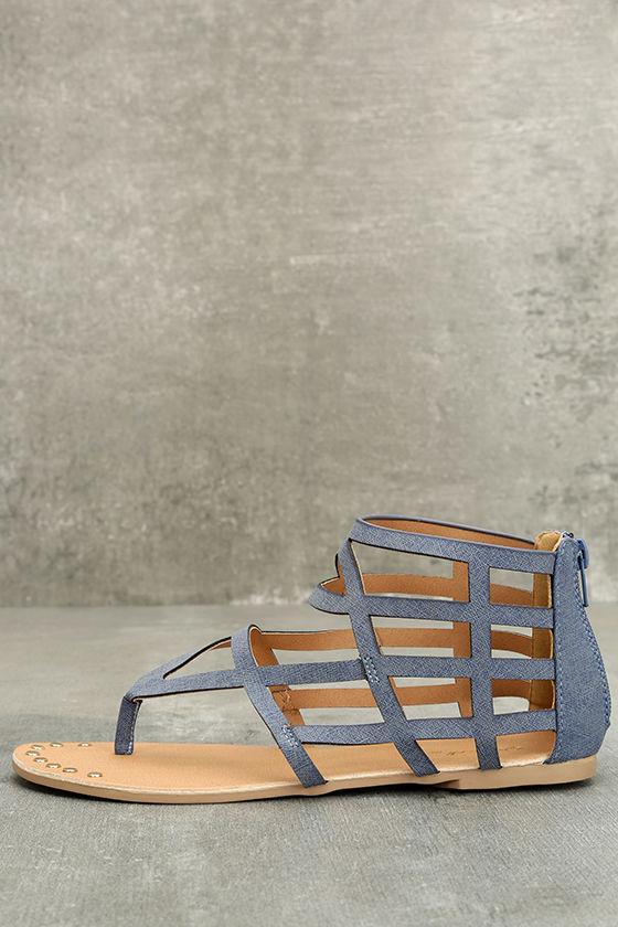 ea5f6782f02 Cute Denim Print Sandals - Flat Sandals - Gladiator Sandals - Caged Flat  Sandals -  17.00