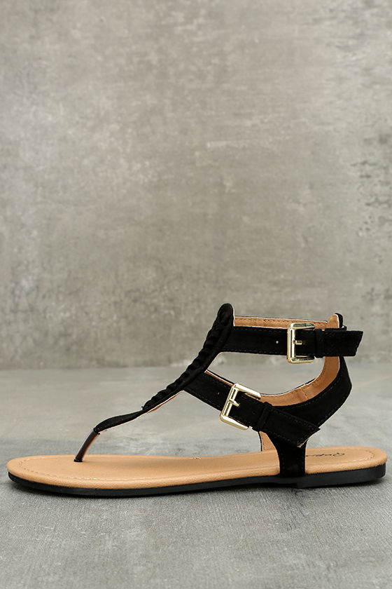 Draya Black Suede Flat Sandals 1