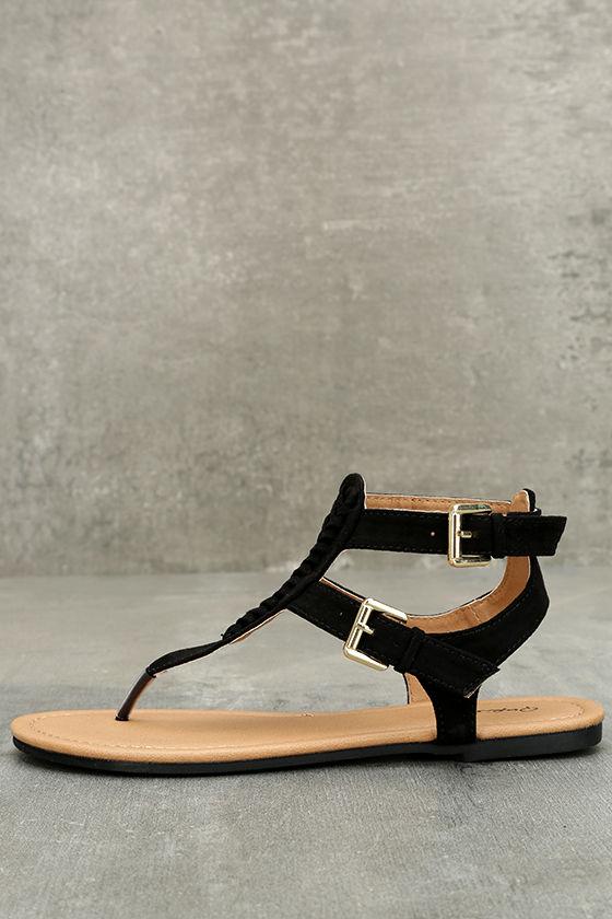 7ec32a14089b Cute Black Sandals - Vegan Suede Sandals - Black Thong Sandals -  19.00