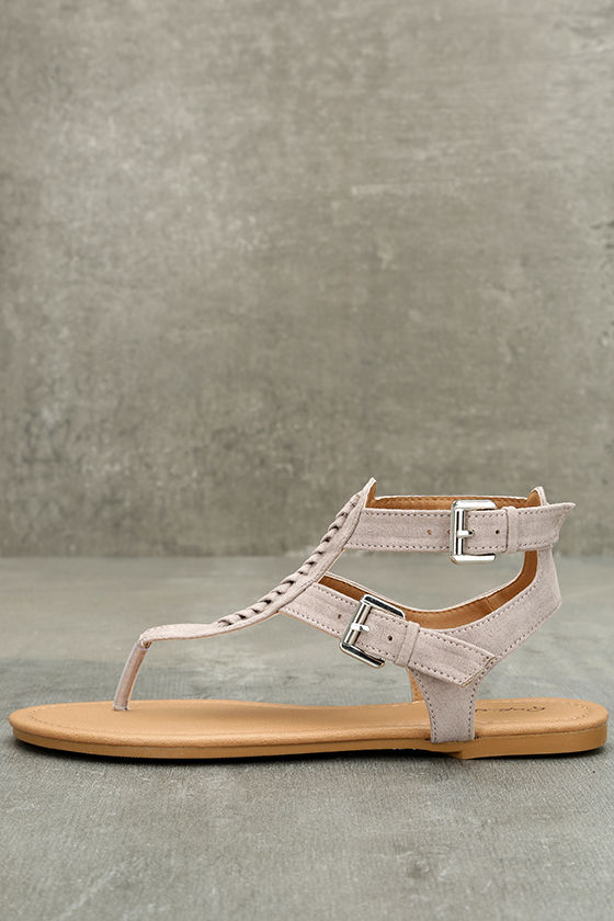 Draya Taupe Suede Flat Sandals 1
