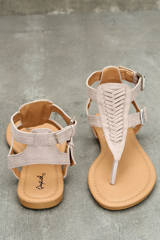 Draya Taupe Suede Flat Sandals 3