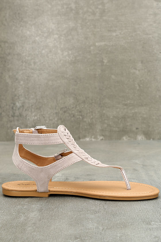 Draya Taupe Suede Flat Sandals 4