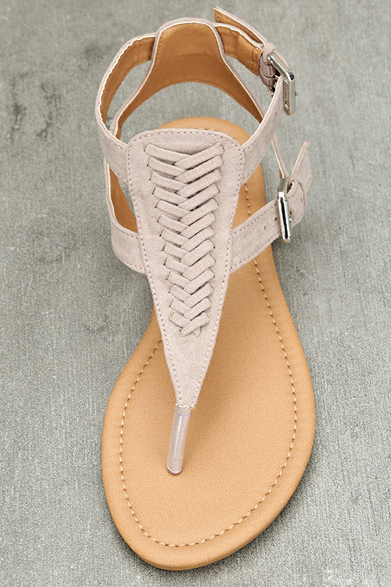 Draya Taupe Suede Flat Sandals 5
