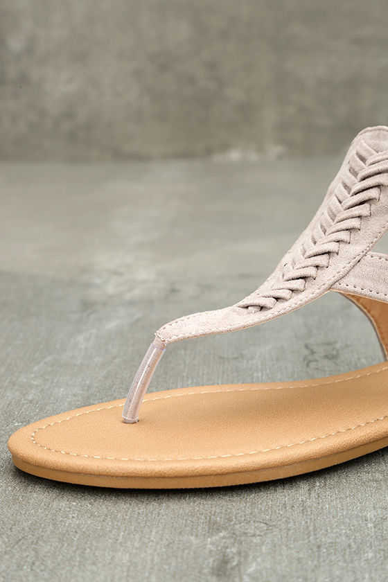 Draya Taupe Suede Flat Sandals 6