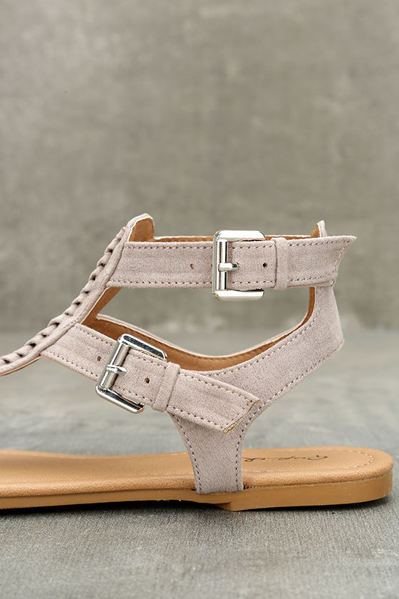 Draya Taupe Suede Flat Sandals 7