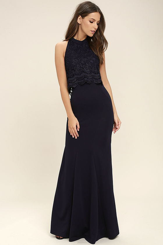 Sociable Navy Blue Lace Halter Maxi Dress 1