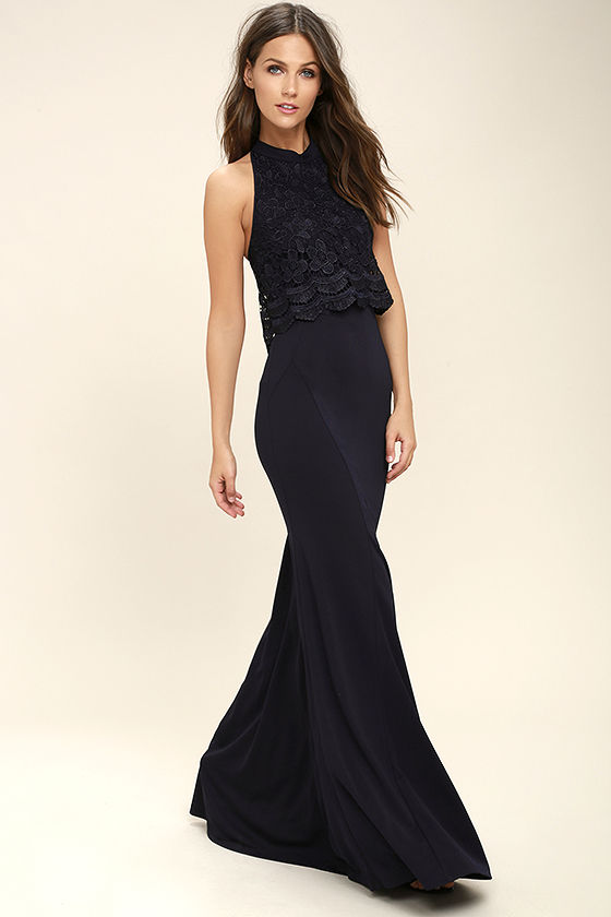 Sociable Navy Blue Lace Halter Maxi Dress 2