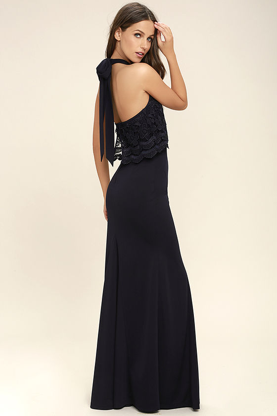 Sociable Navy Blue Lace Halter Maxi Dress 3
