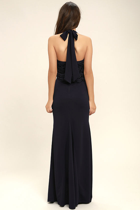Sociable Navy Blue Lace Halter Maxi Dress 4