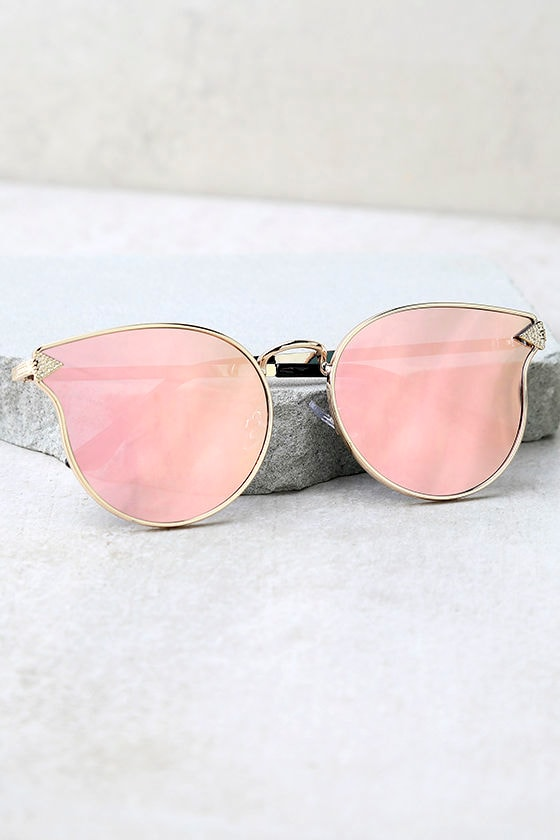 By the Way Rose Gold and Pink Mirrored Sunglasses 2