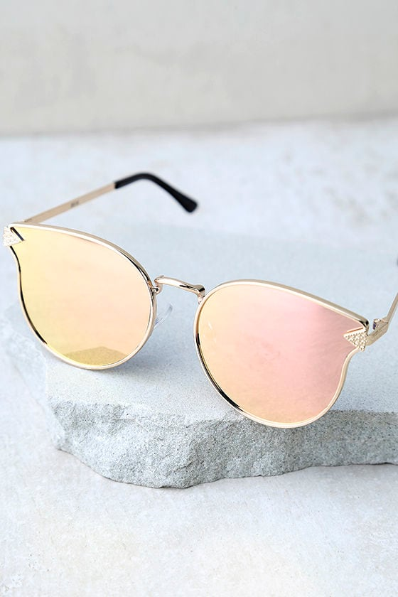 By the Way Rose Gold and Pink Mirrored Sunglasses 3